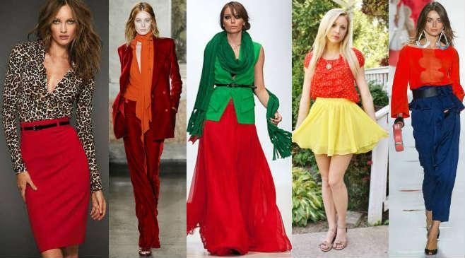 Грамотные гардеробные сочетания на основе красного цвета.