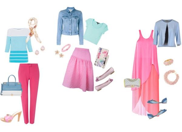 Идеальная пара к розовому – вещи в сине-голубой гамме.