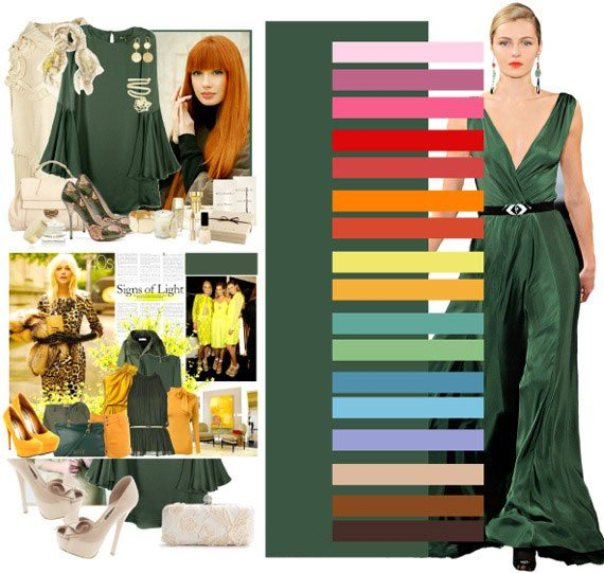 Зеленый цвет богат на удачные сочетания, подберите вариант правильно, чтобы оттенить красоту этого благородного цвета.