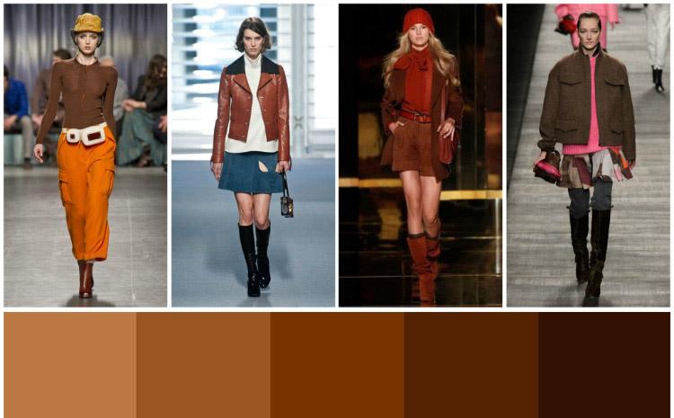 Коричневый – очень многогранен и прекрасно сочетается с бело-черной гаммой, оранжевым и синим цветом.