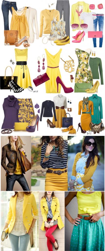Лимонно-желтый цвет обладает прекрасной сочетаемостью как с яркими, там и темными оттенками.