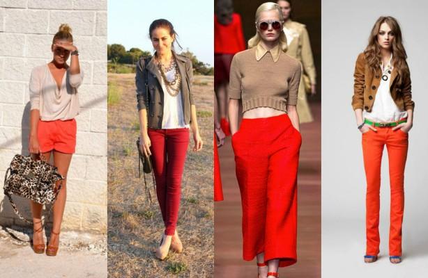 Трендовое сочетание в женском гардеробе: коричневый и красный.