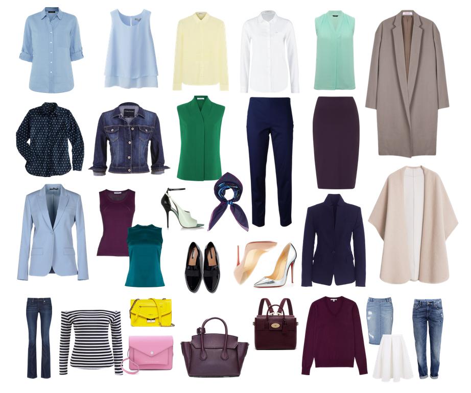 Вариант цветового набора для повседневного гардероба.