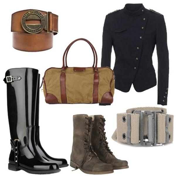 Брутальности образам с милитари пиджаками придадут высокие грубоватые сапоги, ботинки на шнуровке