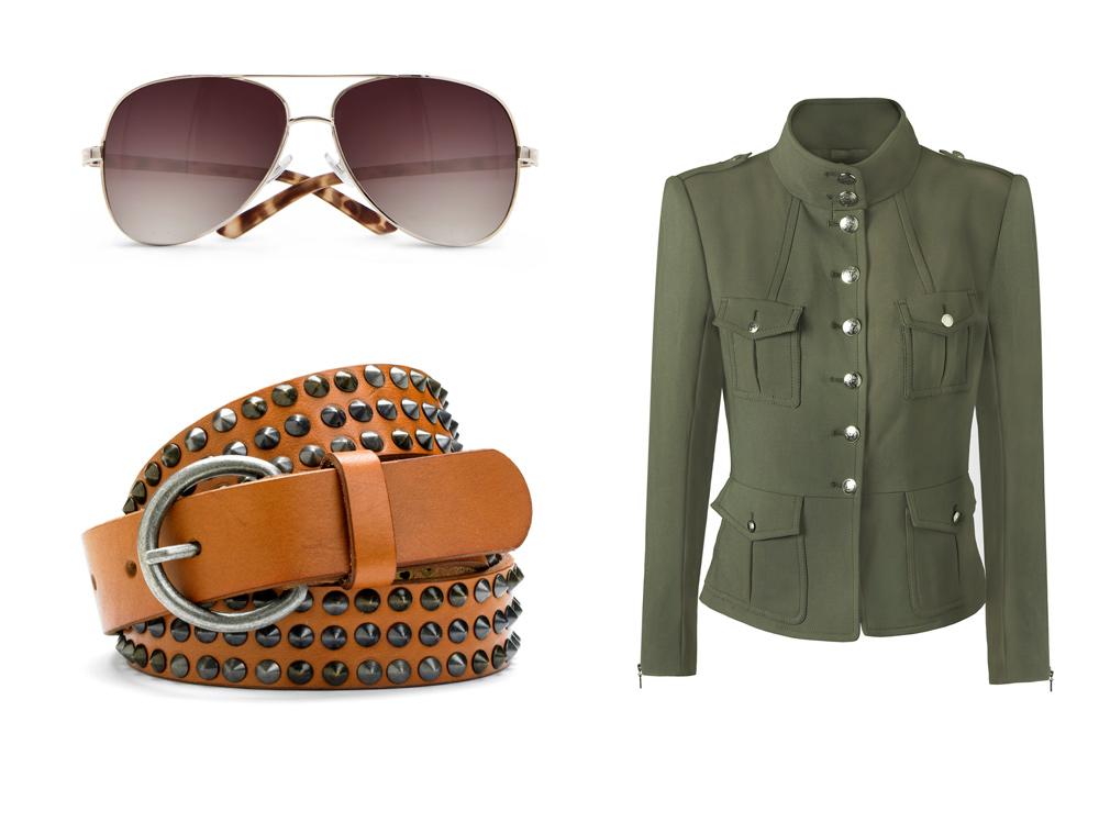 Очки и кожаные пояса – важные детали аутфитов с женским пиджаком в милитари стиле