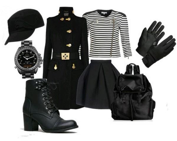 Фуражки, часы и перчатки – стильные аксессуары, дополняющие шикарный образ с удлиненным жакетом в стиле милитари
