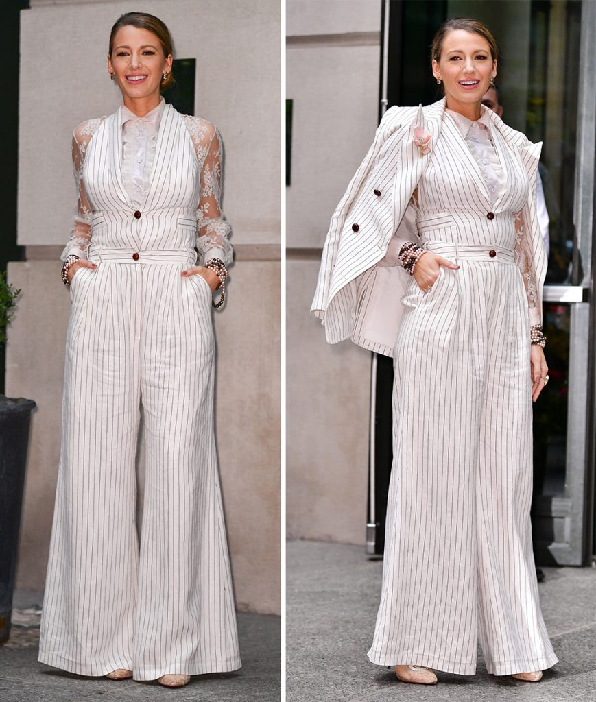 Неординарный костюмный лук с пиджаком от признанной модницы Блейк Лайвли.