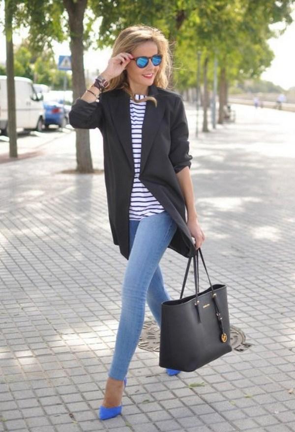 Универсальные части дуэта – пиджак и джинсы способны создать яркие деловые луки и образы в стиле кэжуал