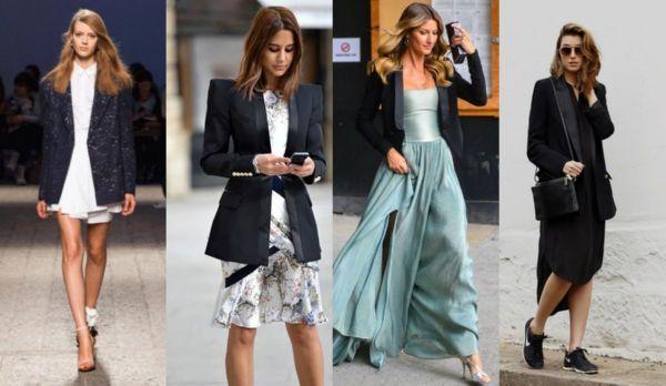 Приталенные пиджаки разнообразных моделей органичны в ансамблях с платьями всевозможных фасонов и длины