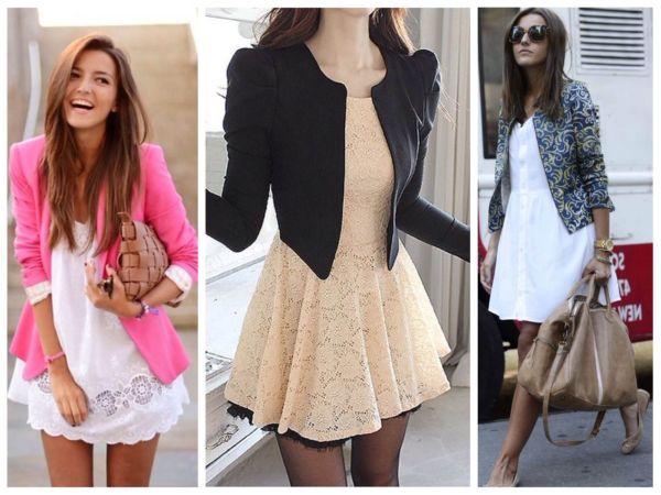 Пиджаки всех фасонов и цветов – лучшее дополнение к романтичному образу с платьями