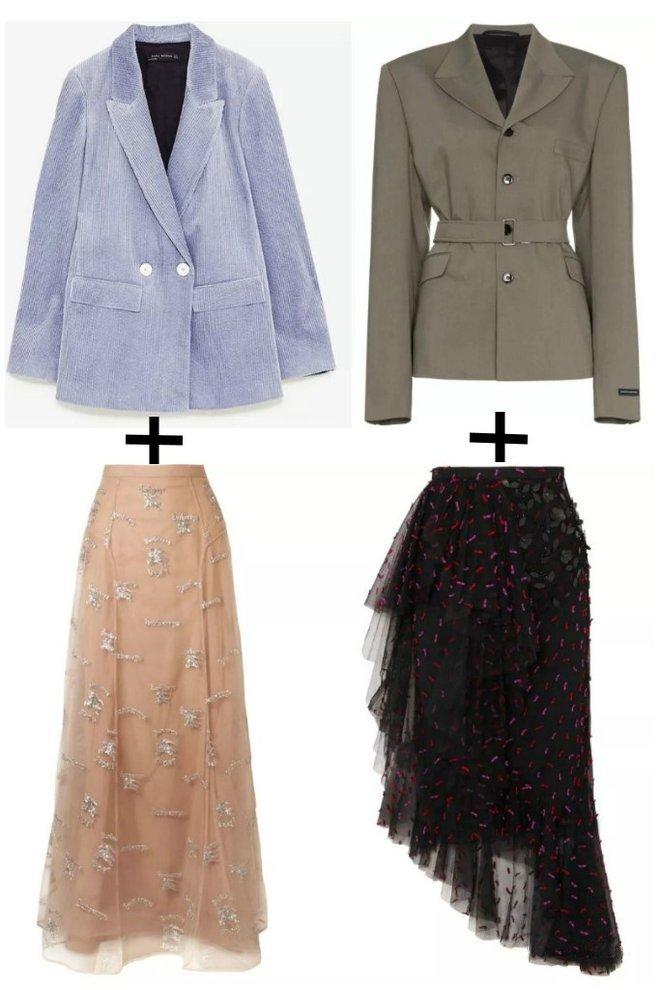 Экстравагантные луки с разностилевыми пиджаками и юбками – выбор смелых и уверенных в себе леди