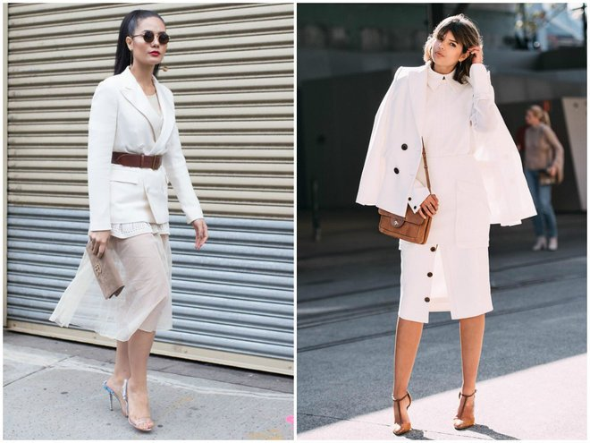 Стильные леди выбирают для себя наиболее выгодные сочетания пиджака с юбкой – легкость и изящество обеспечивает ослепительно белый цвет ансамбля