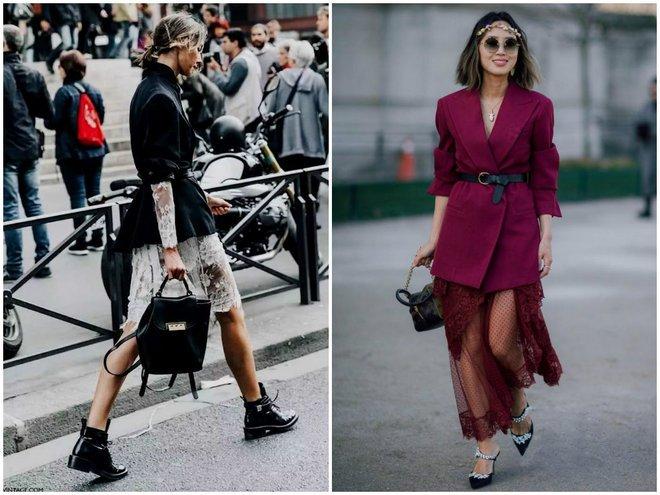 Женственные аутфиты позволяют создать юбки с кружевами и пиджаки под пояс