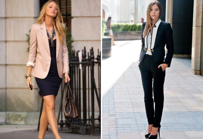 Офисный стиль – пиджаки различных фасонов в сочетании с платьями и строгими брюками