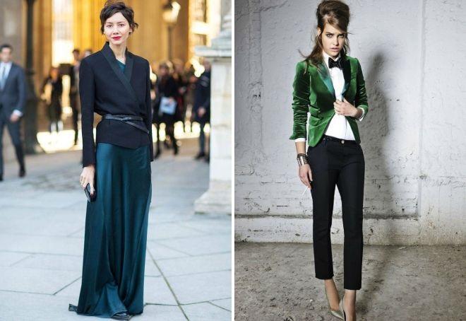 Бархатные и атласные пиджаки в комплекте с платьями в пол и укороченными классическими брюками – беспроигрышный тандем роскошной лаконичности
