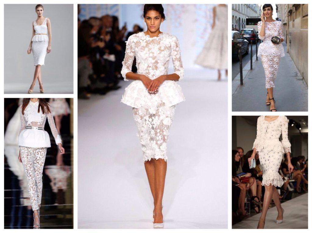 Белоснежные кружевные жакеты и юбки – гламурный микс для торжественного мероприятия