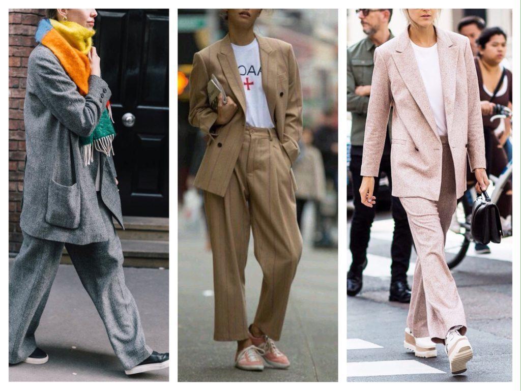 Сочетание широких брюк и пиджака оверсайз – не лучший выбор, чтобы подчеркнуть достоинства фигуры