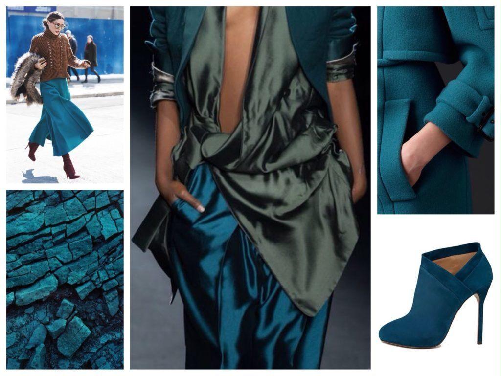 Теплый оттенок синего – петроль – юные модницы с удовольствием используют в верхних и нижних деталях аутфитов