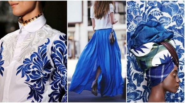 Струящаяся юбка небесной палитры и ярко-белая блузка – лучший выбор сета для летнего выхода