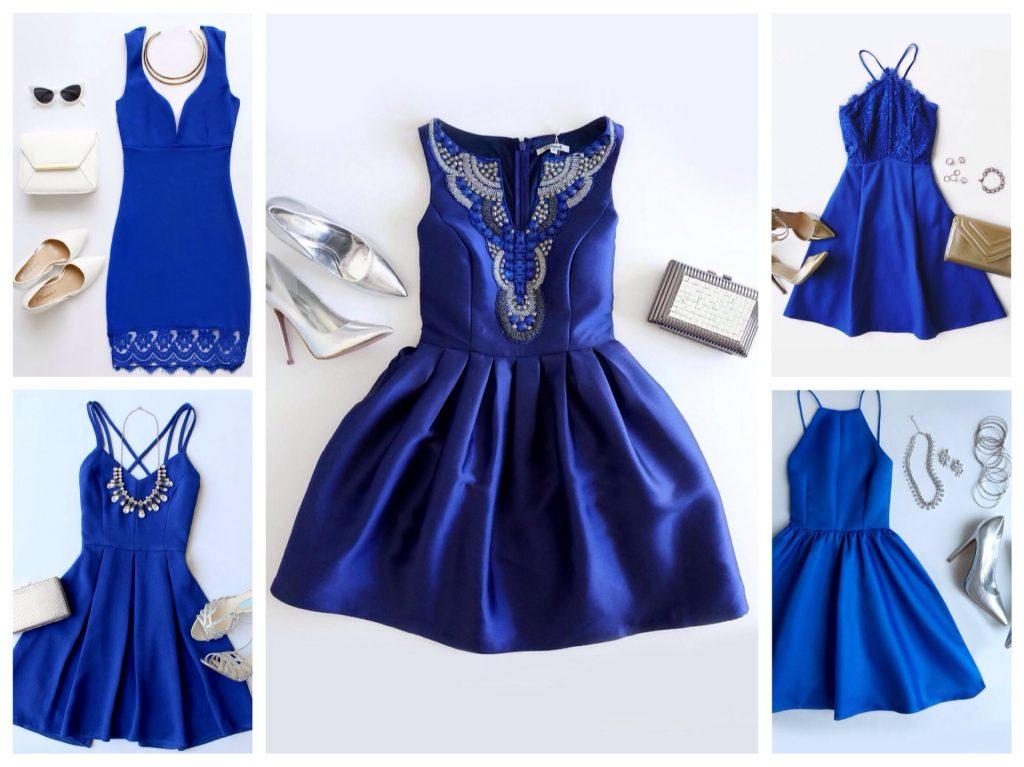 Темно-синее вечернее платье с белой вышивкой и босоножками – элегантный и броский лук для торжественного выхода