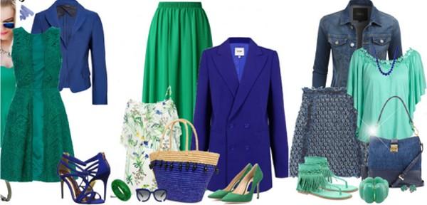 Гармоничный аутфит – платье приглушенного зеленого цвета и кобальтовый жакет