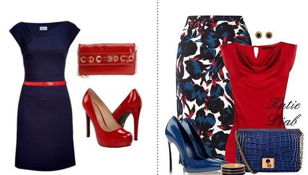 Красный цвет может присутствовать в тандеме с синим в виде акцентного дополнения в виде обуви или ремешка