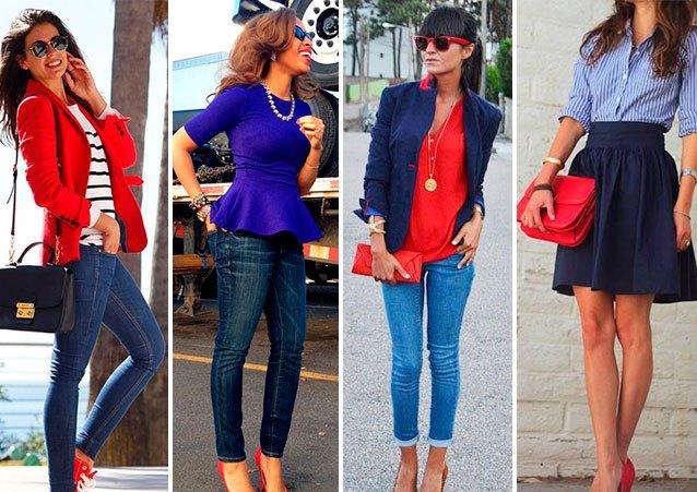 Пиджак гранатового оттенка и джинсы традиционной расцветки – стильный аутфит для походов в офис