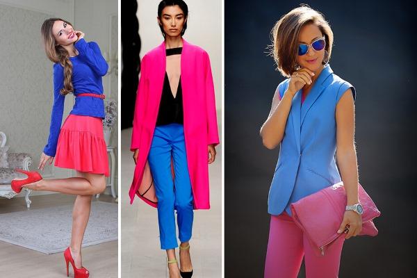 Насыщенно розовые брюки и объемный клатч – отличные компаньоны для светло-синего жакета без рукавов