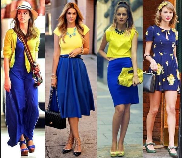 Яркие оттенки синего и желтого – отличная комбинация в капсулах для летних прогулок