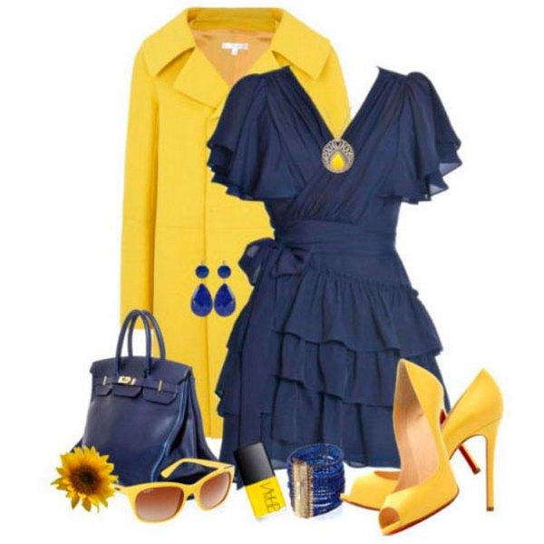Романтичный лук в синих оттенках выглядит впечатляюще благодаря дозированному  присутствию желтого в аксессуарах
