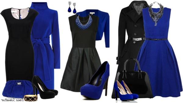 Вечернее платье черного цвета – яркая капсула с болеро, туфлями и украшениями насыщенного синего оттенка