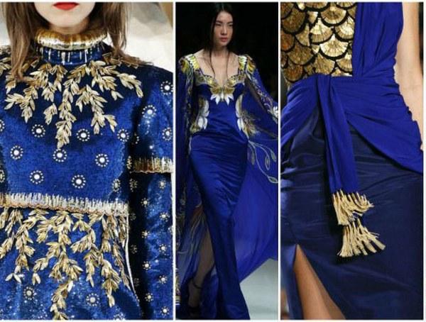 Золотой и синий – царственный тандем в праздничных луках