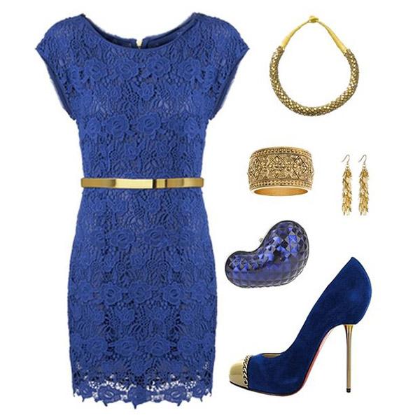Золотой может присутствовать в луках с синим в аксессуарах и украшениях