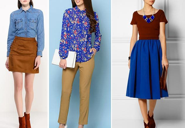 В повседневных аутфитах отлично сочетаются джинсовая рубашка и юбка горчично-коричневого оттенка
