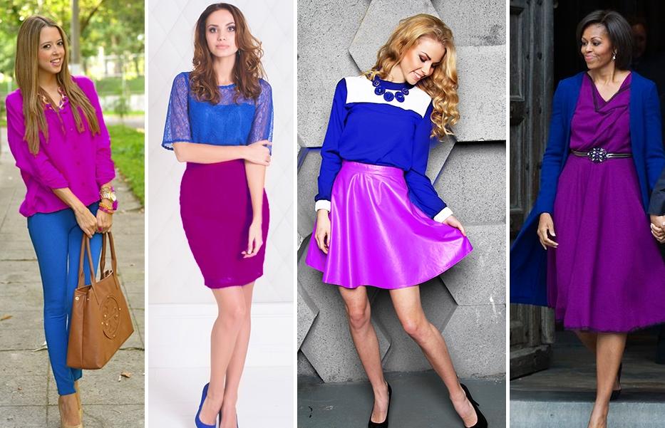 Фиолетовая блузка и синие джинсы-скинни – броский молодежный сет
