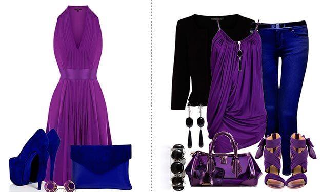 Неповторимо эффектная капсула – платье глубокого фиолетового оттенка и сумка и туфли цвета электрик