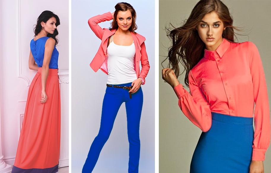 Юбка –карандаш синего оттенка и коралловая блузка – выбор смелых леди для повседневного образа