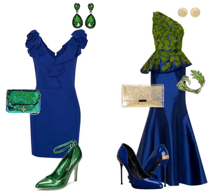 Королевский синий и кобальтовый – лучшие компаньоны изумрудного в вечерних капсулах