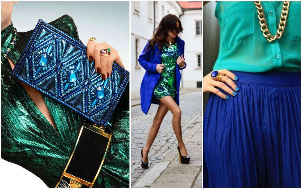 Изумрудное с люрексом платье отлично сочетается с ультрамариновым пальто