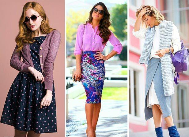 Сиреневая блузка привносит яркий контраст в дуэт с ярко-синей юбкой