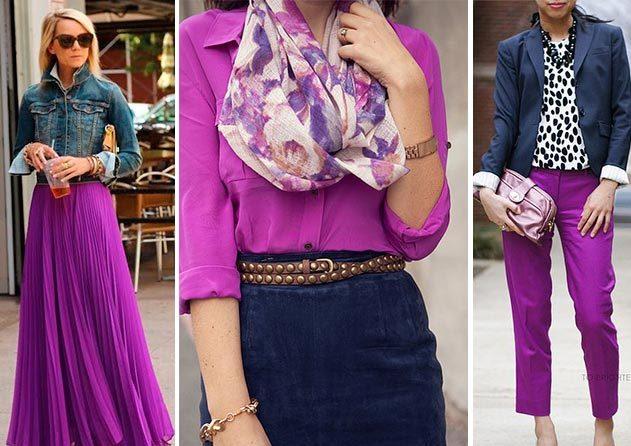 Темно-синяя джинсовая юбка и сиреневая блузка – хороший тандем в повседневном аутфите