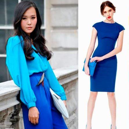 Дуэт ярко-синей юбки и голубой блузы – эффектный ансамбль для важного мероприятия
