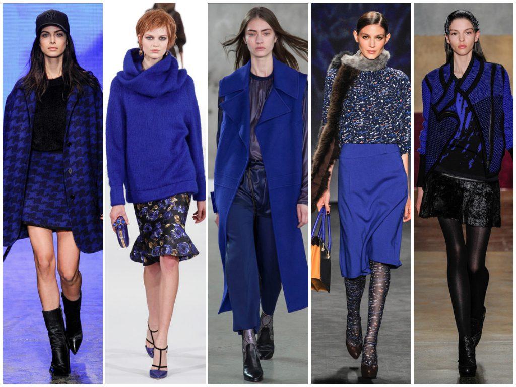 Популярные оттенки синего позволяют создавать стильные луки в сочетании с одеждой и обувью других цветов
