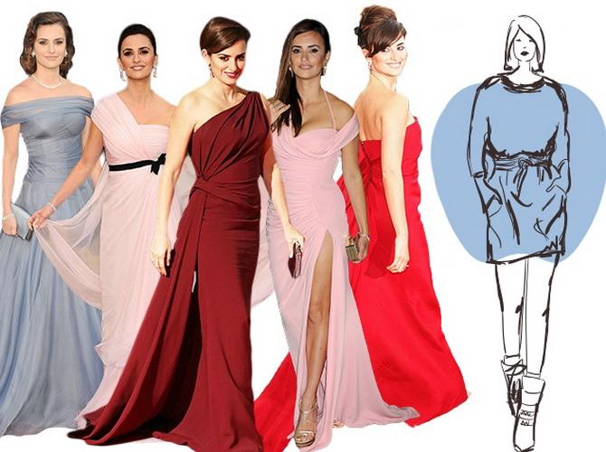 Вечерние платья для звезд с фигурой «яблоко» зачастую демонстрируют стройные ноги