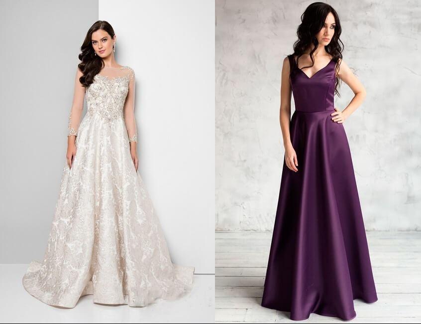 А-силуэт вечернего платья – отличная возможность сделать торжественный лук для женщины-«груши» гармоничным