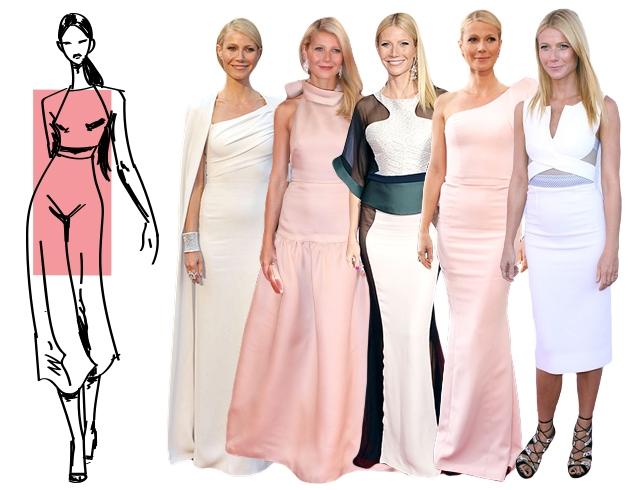 Фигура «прямоугольник» требует привнесения женственных очертаний, которые с успехом обеспечивает грамотно подобранное вечернее платье
