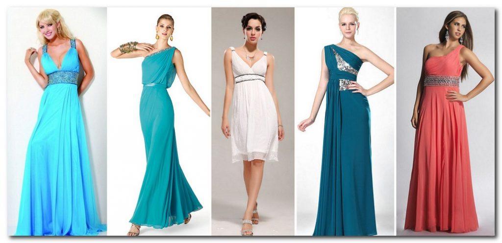 Драпировки и иной декор в области груди и плеч – лучшее решение для вечернего платья для женщины с прямоугольной фигурой