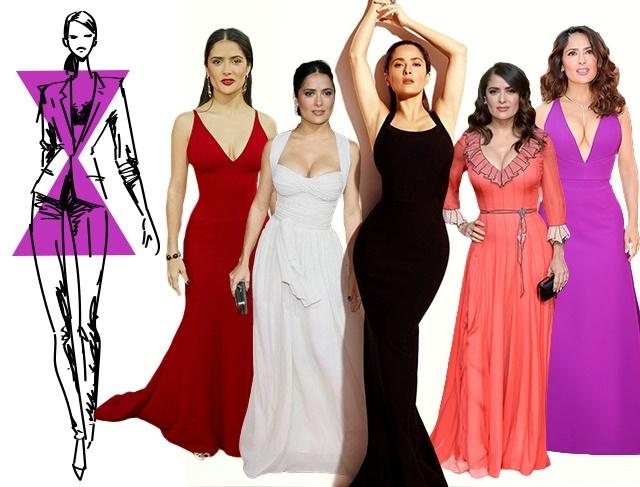 Фигура Х-силуэта с практически совершенными пропорциями делает вечернее платье любого фасона уместным и подходящим
