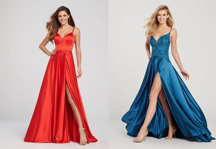 Красный и синий – цвета вечерних платьев, привлекающие внимание и маскирующие недостатки фигуры