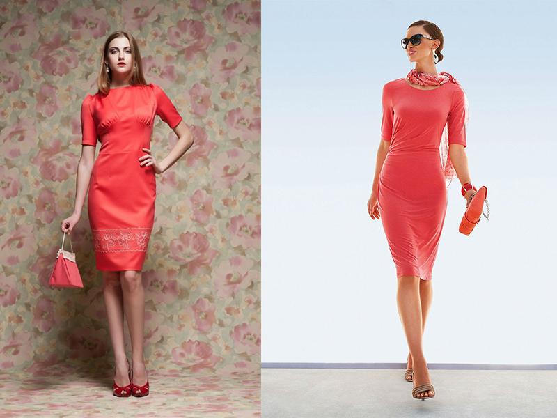 В коралловом платье внешность смотрится ярче и эффектнее.